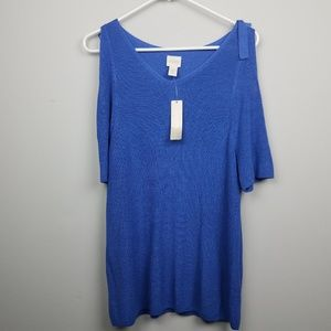 NWT Chicos Womens Sweater Size XL 3 Cold Shoulder